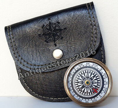 Antique Vintage Brass Flat Camping Pocket Compass w Handmade Black Leather Case