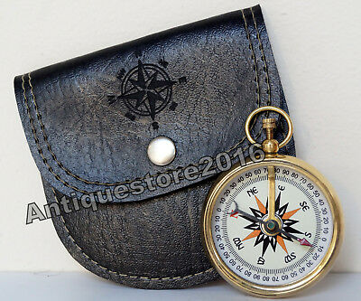 Antique Vintage Brass Gold Camping Pocket Compass w Handmade Black Leather Case