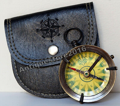 Antique Vintage Brass Shipm Boston Pocket Compass Black Leather Case Great Gift