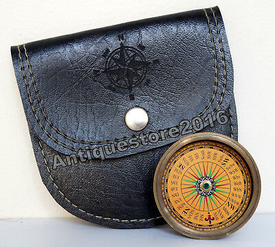 Antique Vintage Brass Directional Pocket Compass w Black Leather Case Great Gift