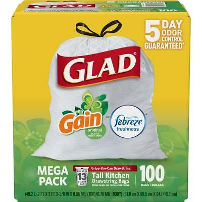 Glad OdorShield Tall Kitchen Drawstring Trash Bags 13 Gallon 100 Count FREE SHIP