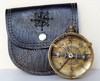 Antique Vintage Brass Directional Magnetic Compass Black Leather Case Great Gift