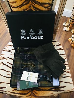 New Barbour  Green Classic Tartan  100% Lambswool Scarf & Glove Set In Gift Box