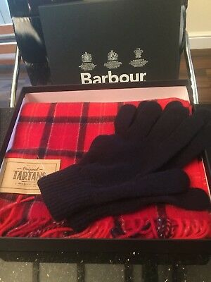 New Barbour Mens Red Tartan Lambswool Scarf & Navy Glove Set In Gift Box