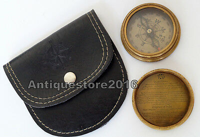 Antique Vintage Brass Navigation Queen Victorian Compass Black Leather Case Gift