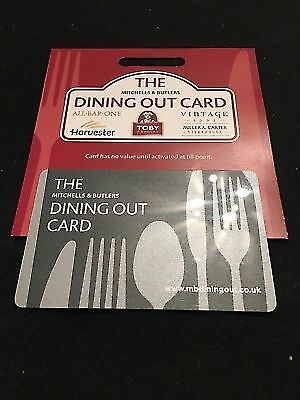 The Dining Out Card £30 Mitchells And Butlers Toby Carvery Miller and Carter