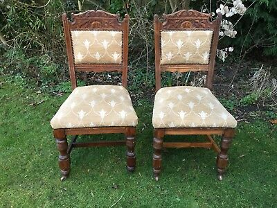 PAIR Antique Vintage High Back Shabby Chic Carved Wood Dining Table Chairs