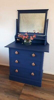 Elegant Edwardian Style Blue Chest Of Drawers Mirror Rose Gold Copper Hardware