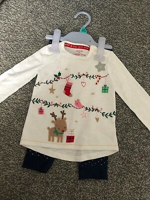 fe1b1b48356c87 TESCO F+F Baby Girl Christmas 2 Piece Outfit Top Leggings BNWT 9-12