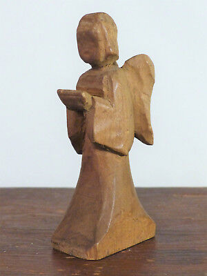Antique VINTAGE 1930-40s Hand Carved Wooden KNEELING Angel FOLK ART Putz