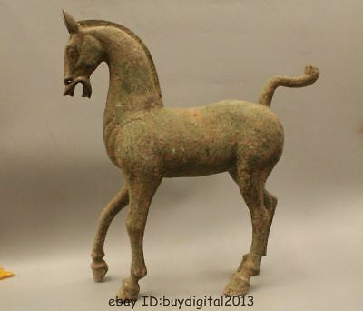 """18"""" Old China Chinese Dynasty Bronze Stand Success War Tang Horse Statue"""