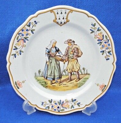 19Thc Hr Henroit Plate Signed Environs De Quimper French Faience Very Nice