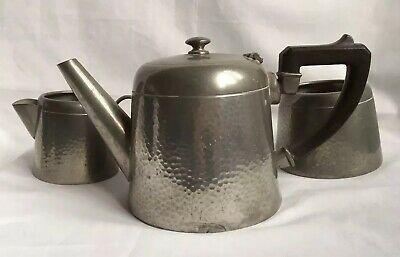 Hammered English Pewter Teaset Teapot Milk Jug Sugar Bowl Arts & Crafts