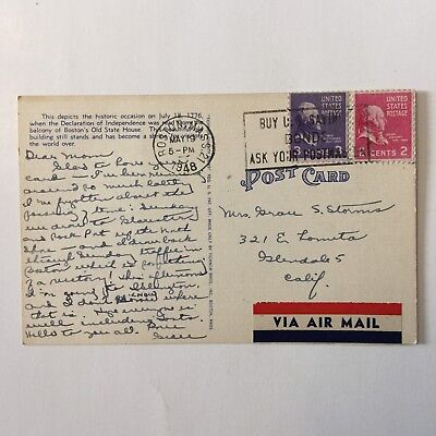 Declaration of Independence Old State House 1776 Airmail Posted Postcard