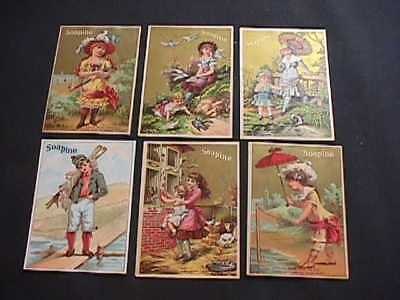 6 Soapine Victorian Trade Cards With Advertsing For Soap