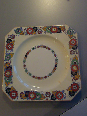 "Vtg 30s Myott Son & Co England  Art Deco Square Plate 7"" 7/8 Fall colors flowers"