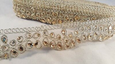4.5cm Beautiful gold beaded lace trim for designing arts crafts decor