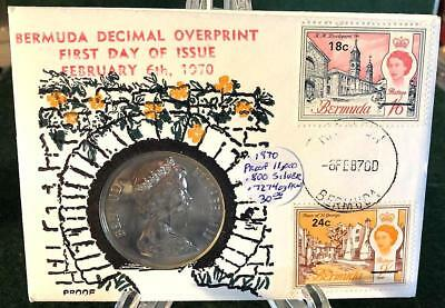 1970 Bermuda Decimal Overprint First Day of Issue Proof One Dollar Coin