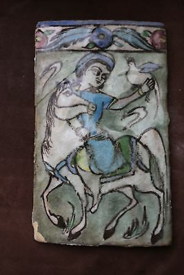 ANTIQUE 18th 19th Century PERSIAN ISLAMIC QAJAR IZNIK GLAZED TILE HUNTER HORSE