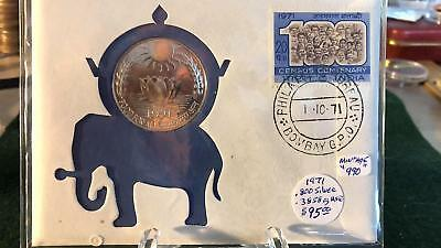 Rare 1971 India Silver Prooflike 10 Rupees Coin - In 99 Company Holder