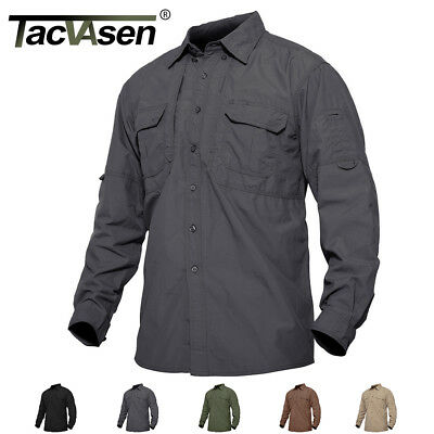 TACVASEN Mens Quick Dry Sun Protection Cargo Shirts Long Sleeve Hiking Shirts