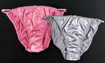 Satin String Bikini Panties · Two Pairs - Pink & Silver · L/7