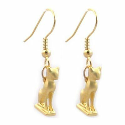 "Gold Finish Egyptian Goddess Bastet Tiny Cat Earrings Charm 0.50"" Drop 1.25"" USA"