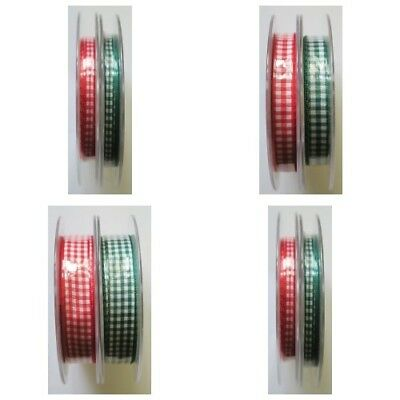 Gingham Mini/Check Ribbon Berisfords 5mm,10mm or 15mm Christmas Ribbon