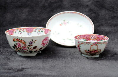 3 18Th Century Chinese Hand Painted Famille Rose Itmes Tea Bowl Saucer Bowl