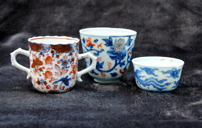 3 18Th Century Chinese Hand Painted Famille Rose Cup Blue & White Bowl  Imari
