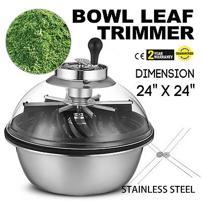 "Hydroponics Manual Trimmer Bowl 24"" Stainless Leaf Twisted Spin ProTumble Cutter"