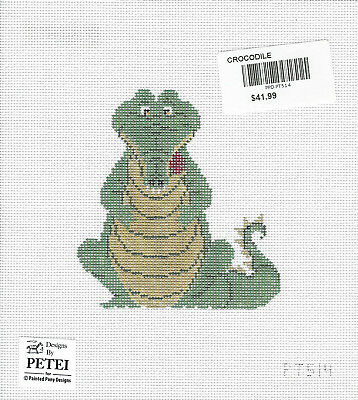 CROCODILE! a handpainted needlepoint canvas by Petei