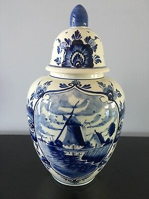 Delft Blue Vase with Lid, Holland Windmill Vintage Ginger Jar, Dutch Antique