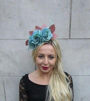 Turquoise Rose Gold Rose Flower Feather Fascinator Headpiece Races Headband 6738