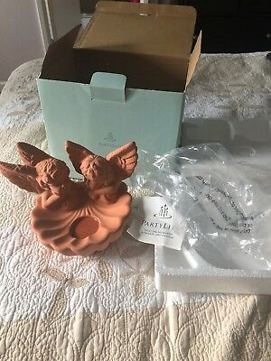 Partylite Vintage Cherub Tealight Holder,  Terra Cotta Wall Hanging Garden Angel