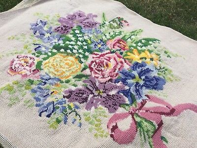 Needlepoint Picture Embroidery Antique Tapestry Bouquet Flowers Cushion Front