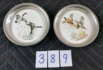 Lot of 2 Vintage GEESE PHEASANT Coasters REVERE PEWTER Birds Water Fowl Ceramic