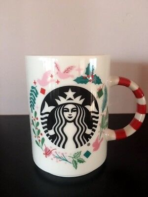 Starbucks 2018 Christmas Holiday Mug Candy Cane Handle Ceramic 12 oz NEW