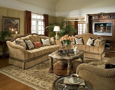Formal 2 PC Living Room Sofa Set & Loveseat Antique Furniture Classic Chestnut