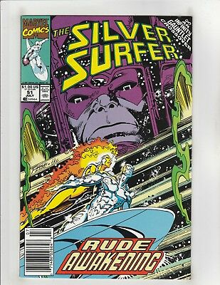 Silver Surfer #51 NM- 9.2 Newsstand Marvel Galactus,Infinity Gauntlet,Thanos (J)