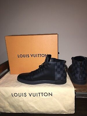 35f5ca02a57f Auth Louis Vuitton Mens Black Damier High-top Line-up Sneaker Boots US size
