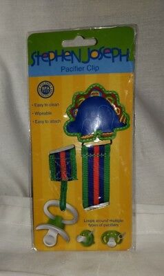Stephen Joseph Pacifier Clip Dinosaur BPA Free Wipeable Easy to Attach Loop New