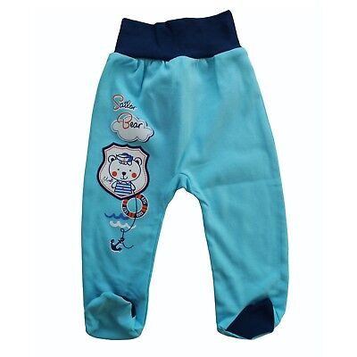 BNWT Baby Infant Boys Pants Trousers with feet 100% Cotton 0-3/6-9/18-24 Months
