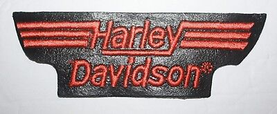 Genuine Harley Davidson Embroidered Leather Logo Patch Orange 5-1/4 x 1-3/4