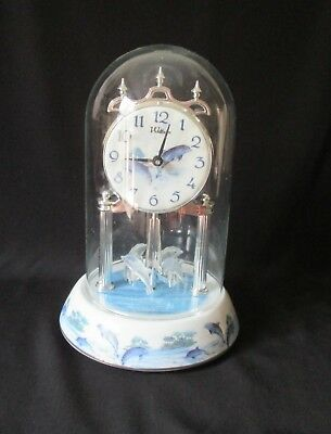 Waltham Anniversary Dolphin Glass Domed Mantle Clock ~ Porcelain Base & Dial