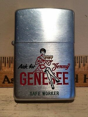 Vintage 1950's Genesee Beer Jenny Girl Zippo Lighter Safety Award Rochester NY