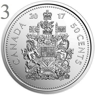CANADA 2017 New 3x50 cents Coat of Arms of CANADA (BU directly from mint roll)
