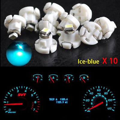 10Pcs Ice Blue T4.2 Neo Wedge 1-SMD LED Cluster Instrument Dash Climate Bulb SP