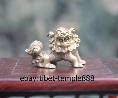5CM Chinese Brass Fengshui Animal Lucky Foo Dog Lion Guardian Beast Statue