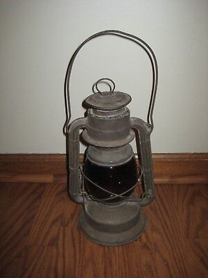 Antique Kerosene Dietz Bell System Lantern Red Globe Little Wizard Patented 1913
